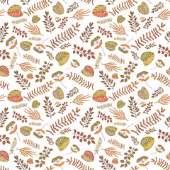 pattern with plant leaves.