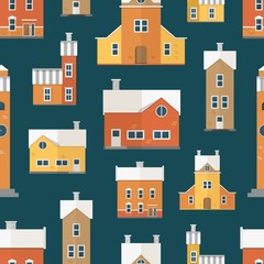 Wall Mural - Seamless pattern with antique city buildings, clock towers. Backdrop with residential houses of old European architecture. Colored vector illustration in flat cartoon style for textile print.