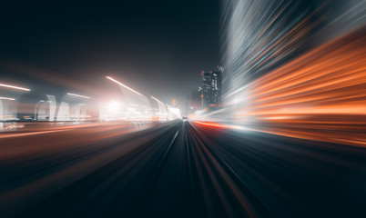 View from first railway carriage. Speed motion blur metro abstract background at night Wall mural