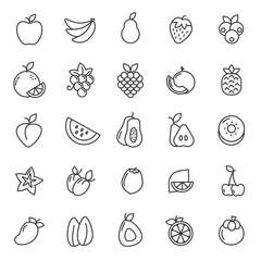 set of fruits plant icon with simple outline and modern concept, editable stroke, use for food infograph and culinary website, containt such as vegertarian, green, healthy food, vitamin vector eps 10