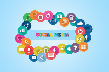 Concept Social Media. Different social icons on a blue background. Social
