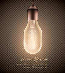 figure of a luminous light bulb on a transparent