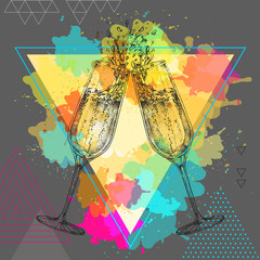 Hand drawing illustration of champagne clinking glasses on artistic polygon watercolor background