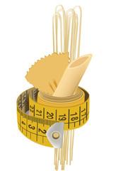 nastro sartoriale avvolge la pasta di grano