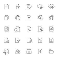 set of file and document management influencer related icon with simple outline and editable stroke