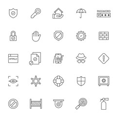 set of icon related of protection and security system with simple style and editable stroke, vector eps 10