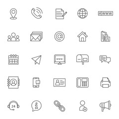 set of icon related of contact information with simple style and editable stroke, vector eps 10