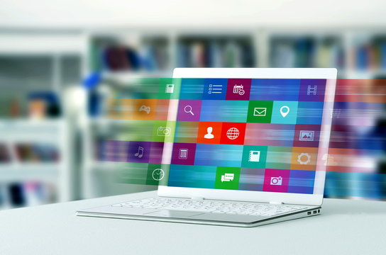 internet application on laptop
