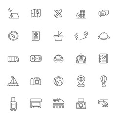 set of travelling and holidays icon with simple style and editable stroke, vector eps 10