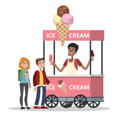 Children buy ice cream from the cart