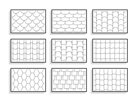 Set of seamless roof tiles textures. Black and white graphic patterns of architectural materials