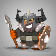 Cartoon warrior character. Vector illustration.