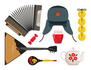 Accordion and Balalaika Set Vector Illustration
