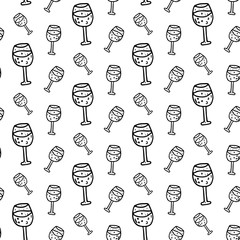 Seamless pattern hand drawn wine glass. Doodle black sketch. Sign symbol. Decoration element. Isolated on white background. Flat design. Vector illustration