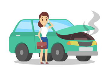 Woman standing at the broken car and calling