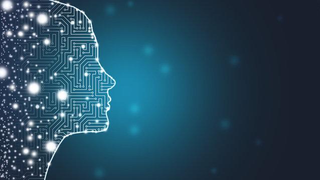 Big data network - women silhouette aix - system / cyberspace web design