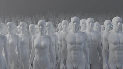 Mannequin crowd male female 3d render