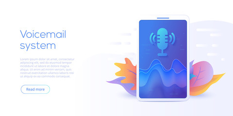 Mobile voicemail or search system vector illustration concept. Voice message or recognition service. Smartphone chat app.