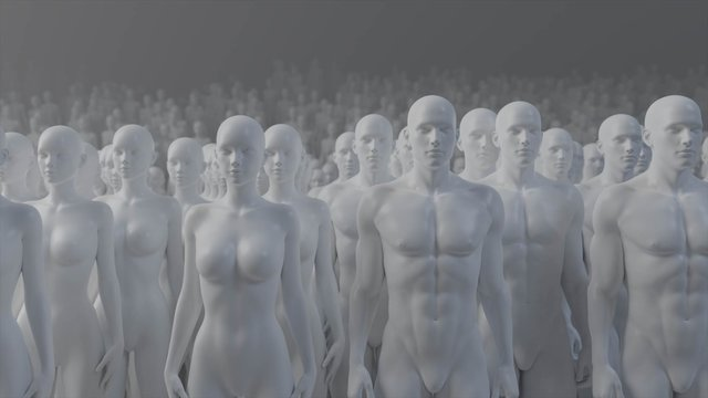 Mannequin crowd male female 3d render