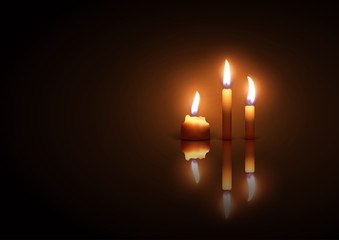 Three burning candles on a dark  background with reflection effect. Christmas night atmosphere. Highly realistic illustration.