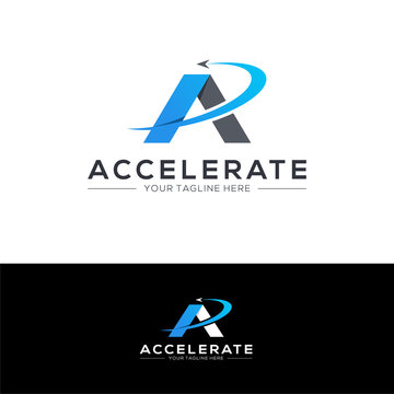 Accelerate logo design concept. Fast logo template