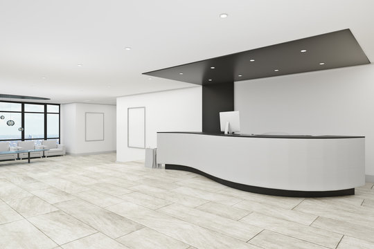 Concrete office lobby
