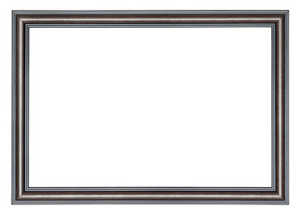 Brown wooden frame with a black borders outside and inside,  isolated on a white background