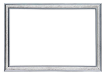 Silver frame with a black borders outside and  inside, isolated on a white background (design element)