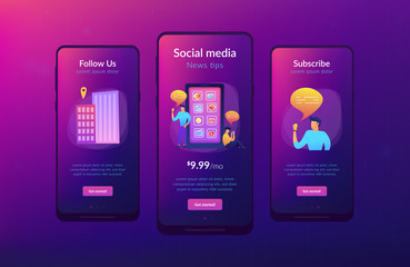 Social media and news tips app interface template.