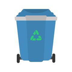 Street trash tank color vector icon. Flat design