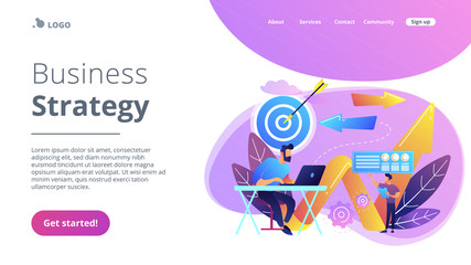 Business direction concept landing page.