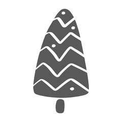 Christmas Tree vector icon silhouette. Simple contour symbol. Isolated on white web sign kit of stylized spruce. Handdraw scandinavian cartoon picture