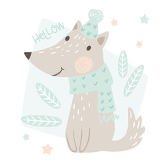 Wolf baby winter print. Cute animal in warm scarf and hat christmas card.