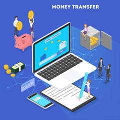 Money transaction concept. Online transfer and payment