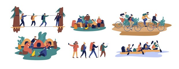 Wall Mural - Collection of men and women travelling together. Set of friends or tourists riding bicycles, rafting on boat, walking along bridge, going camping. Colorful vector illustration in flat cartoon style.