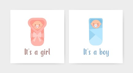Bundle of square greeting card templates with swaddled newborn infants and It's a Boy or It's a Girl lettering. Colored flat vector illustration for child birth party or baby arrival celebration.