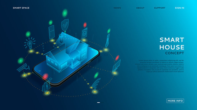 Concept of smart house with IoT. Digital hologram of smart home on the screen of smartphone. Vector illustration with wireless connections of electronics devices.