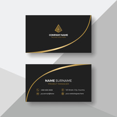 Simple black business card with gold details