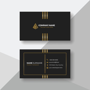 Modern business card with gold details