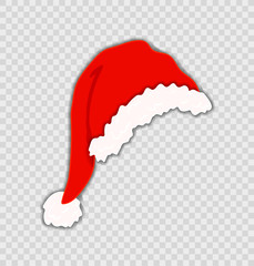 Vector Santa's Hat Isolated on Transparent Background, Christmas, Festive Element.