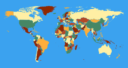 Political World Map vector illustration. Colorful complete with all countries