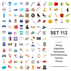 Vector illustration of viking, vegetable, typography, garbage toy theater icon set.
