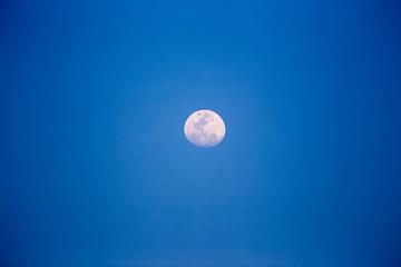 Waning Gibbous Moon in Blue Sky