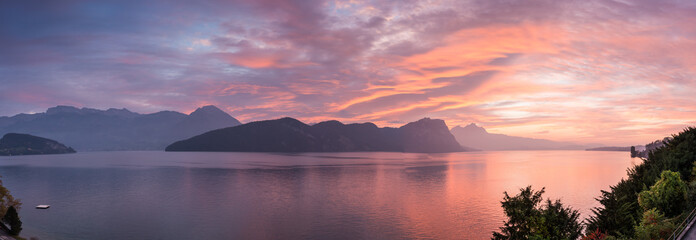 Panoramic view Sunset over the mountains and lake. Switzerland. Weggis