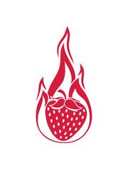 rot brennen feuer flamme heiß hot erdbeere fruchtig lecker obst beeren hunger essen gesund naschen kochen marmelade clipart comic cartoon