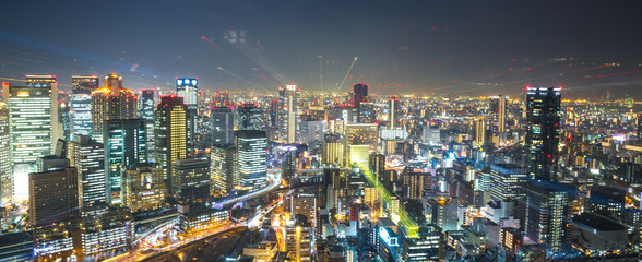 Cityscape view from Kuchu-Teien Observatory in Umeda Sky Building that can see 360 degree of Osaka City, Japan