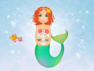 mermaid with pearl in the shell