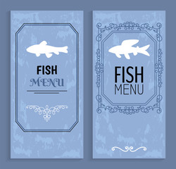 Fish Menu Colorful Cards with White Silhouettes