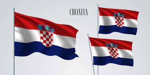 Croatia waving flag set of vector illustration. Blue red colors