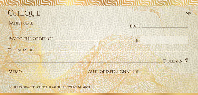 Check, Cheque (Chequebook template). Guilloche pattern with abstract line  watermark, border. Gold background for banknote, money design,currency, bank note, Voucher, Gift certificate, Money coupon